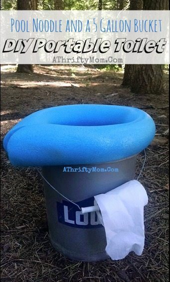 diy portable camping toilet made with a 5 gallon bucket and pool