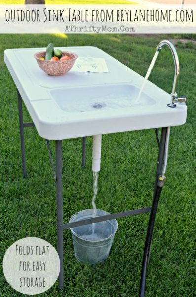 camping kitchen table with sink